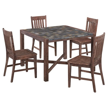 Home Styles Morocco 5pc Indoor Outdoor Dining Set With Square Table And 4 Arm