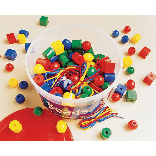 "School Smart Plastic Shape Beads in Storage Tub, 0.75"", Set of 160"