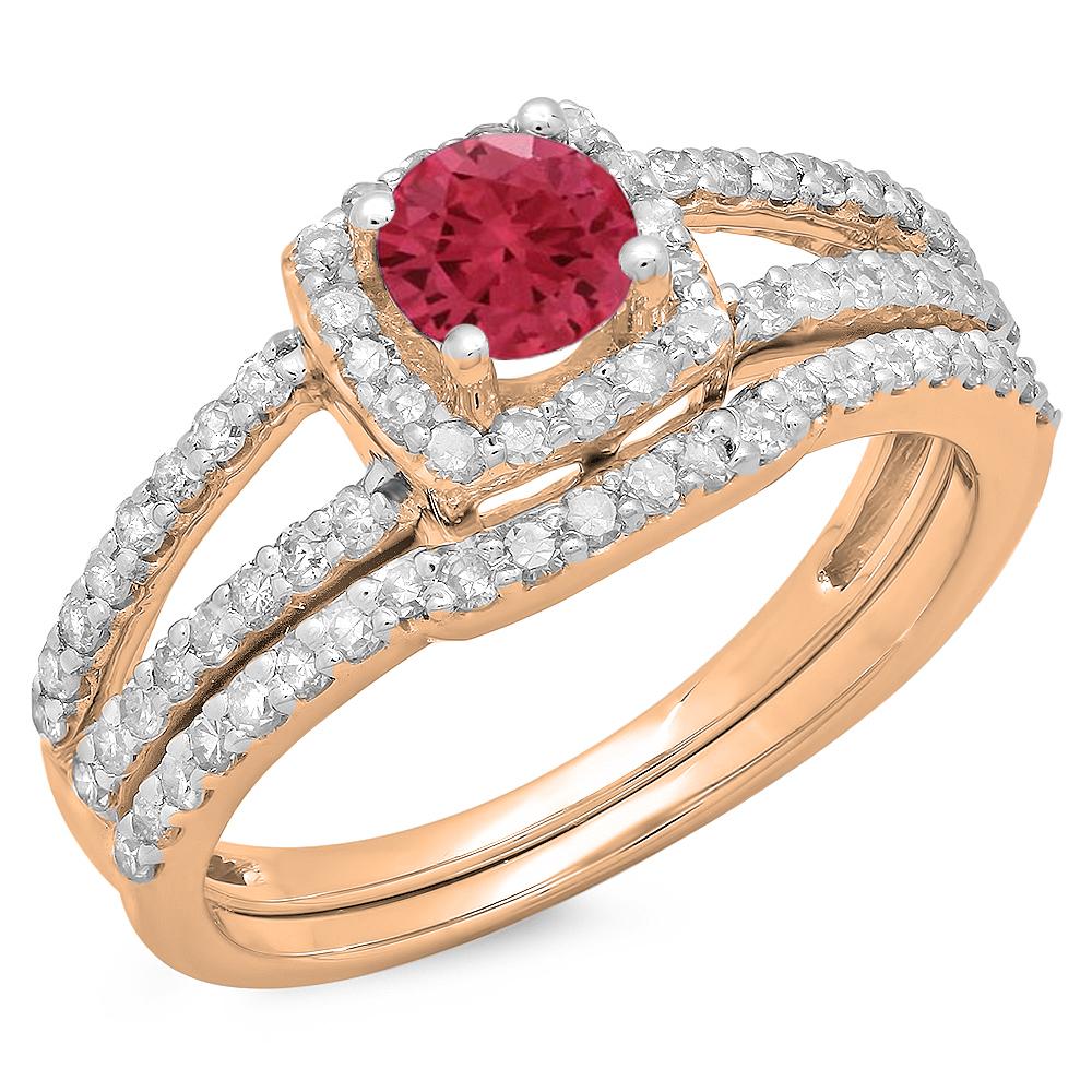 1.00 Carat (ctw) 10K Rose Gold Round White & Red Ruby Diamond Ladies Split Shank Halo Bridal Engagement Ring With Matchi