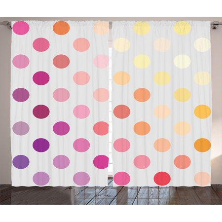 Gradient Dots - Polka Dots Home Decor Curtains 2 Panels Set, Gradient Polka Dots Artistic Digital Creative Design Array Of Filled Circles Artwork, Living Room Bedroom Accessories, By Ambesonne