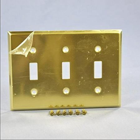 Leviton 81011-PB Polished Brass Three Gang Toggle Light Switch Wall Plate