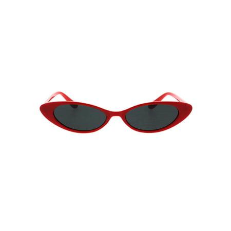 Womens Extra Narrow Cat Eye Mod Goth Plastic Sunglasses Red Black