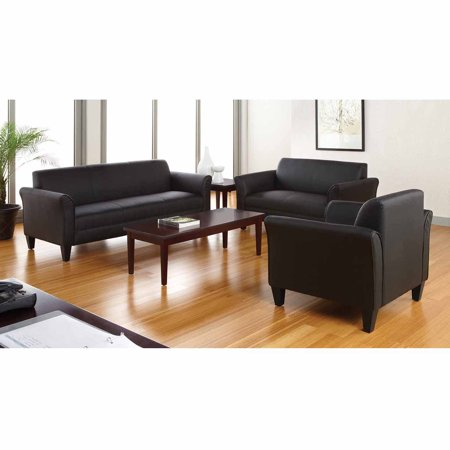 Alera Reception Lounge Furniture 3 Cushion Sofa Black