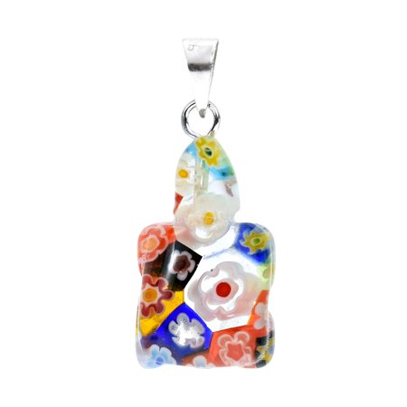 Cute & Colorful Millefiori Glass Turtle with Flower Accents Charm Pendant