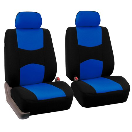 FH Group Universal Flat Cloth Bucket Seat Cover, 2 Pack, Blue and Black