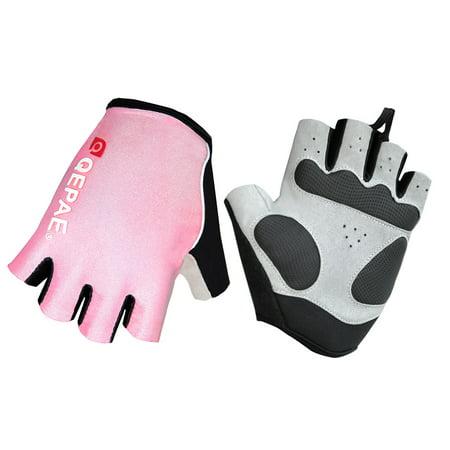 QEPAE Biking Gloves Gel Pad Fingerless Half Finger Gloves for Safe Night Riding Cycling Hiking ()