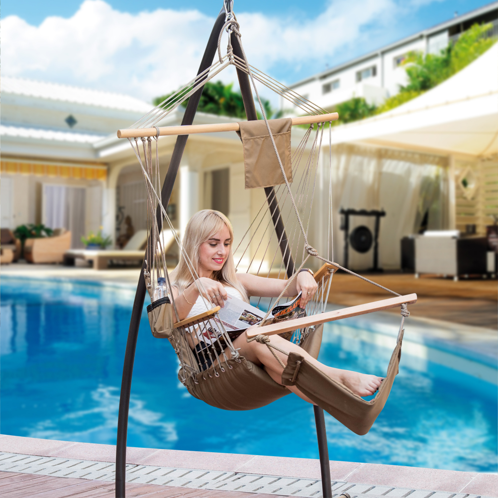 Lazy Daze Hammocks Patio Garden Outdoor Hanging Hammock Swing Lounger Chair with Cup Holder,Footrest&Hardware
