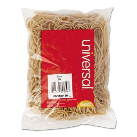 Universal Rubber Bands, Size 19, 3-1/2 x 1/16, 310 Bands/1/4lb Pack