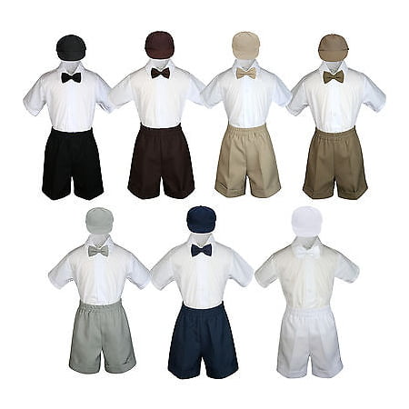 Boys Toddler Formal Vest Shorts Suits Black Navy Brown Bow Tie Hat 4pc Set S-4T](Boys Suits Black)