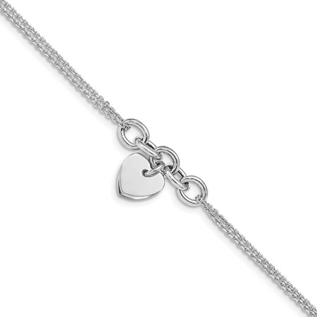 Heart 6 Inch Jewel - Sterling Silver Rhodium-plated Heart Multi-strand With 1inch Ext. Bracelet - 3.4 Grams - 6 Inch