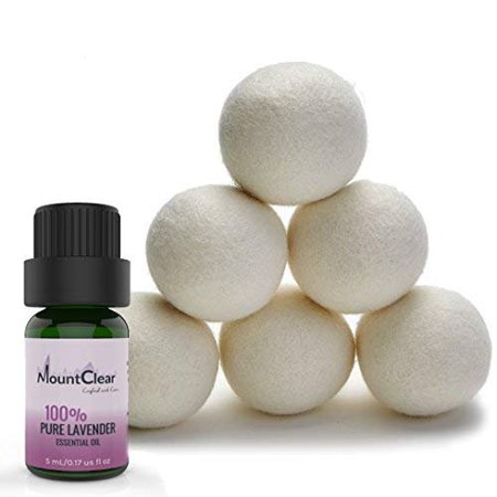 Dry Sweet - Mountclear Wool Dryer Balls-Lavender Scented Oil Fabric Softener-All Natural,Chemical Free and Hypoallergenic Reusable Washer Balls-Shorter Drying Time Saves Time and Money-Laundry Balls