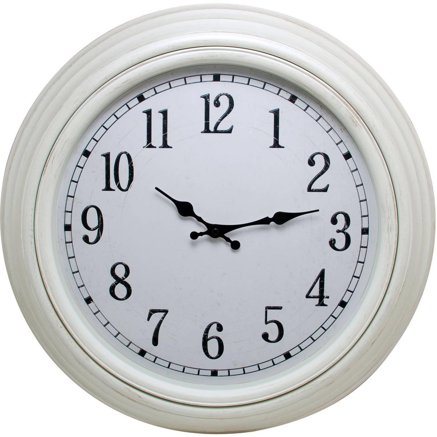 "Kiera Grace Emerson 20"" Round Wall Clock with Distressed White Finish and Weathered Dial"