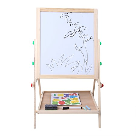 Dilwe 2 In 1 Double Side Baby Kids Child Standing Art Wooden Drawing Board, Double Side Drawing Board, Standing Art Wooden Board (Bamboo Drawing Board)
