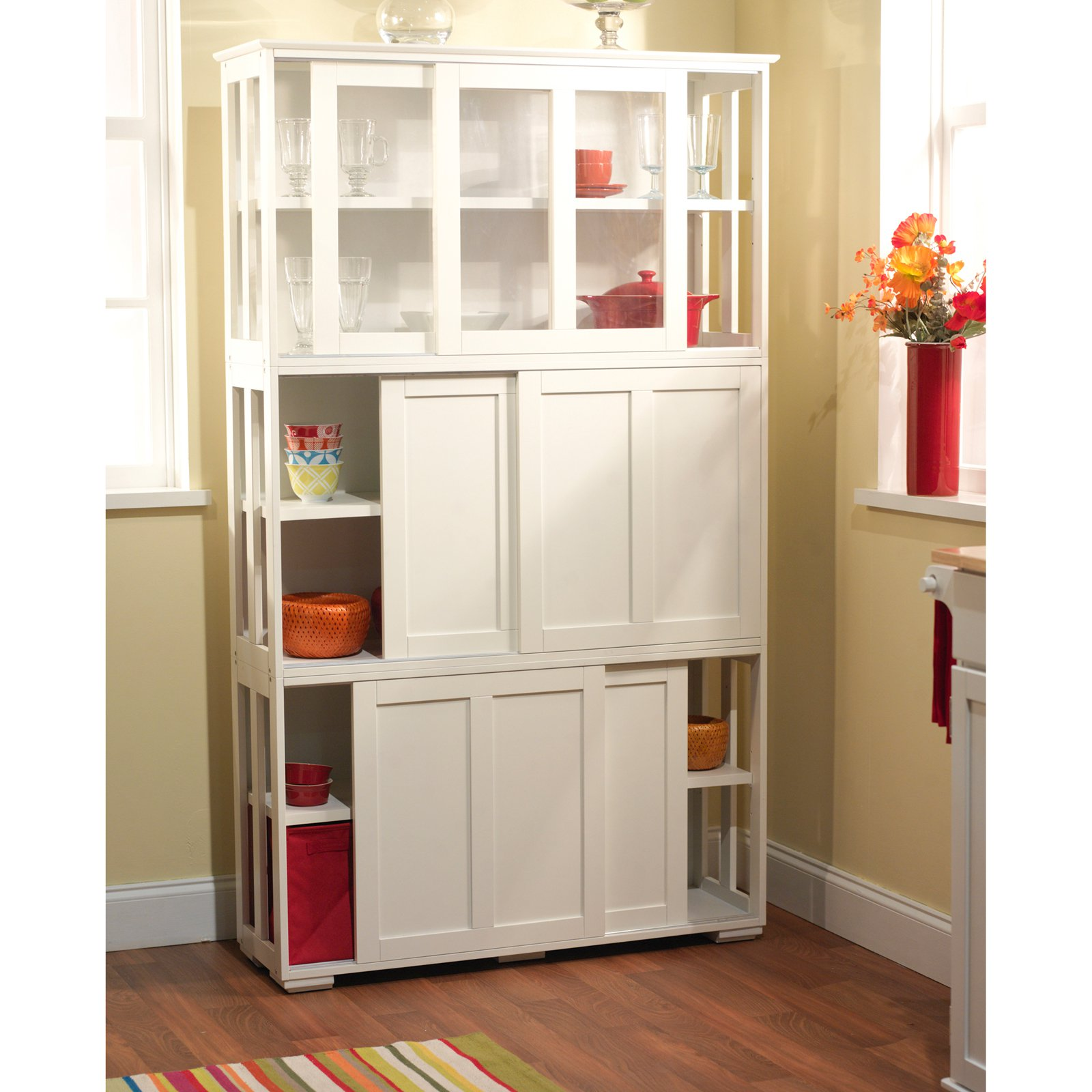 Sliding Wood Doors Stackable Storage Cabinet Multiple Colors
