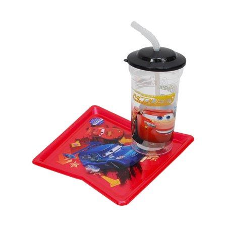 Cars Lightning McQueen Plate & Cup Set BPA-Free by Zak! (Lightning Cut)