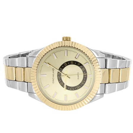 Two Tone Men's Gold Face Fluted Bezel Metal Link Watch