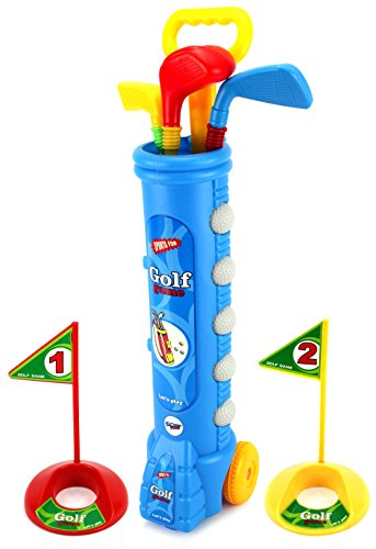 Velocity Toys Sport Children's Kid's Toy Golf Play Set w  4 Balls, 3 Clubs, 2 Practice Holes, 2 Flags (Colors... by Velocity Toys