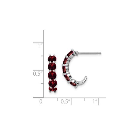 Sterling Silver Rhodium Plated Garnet J-Hoop Earrings - image 1 de 3