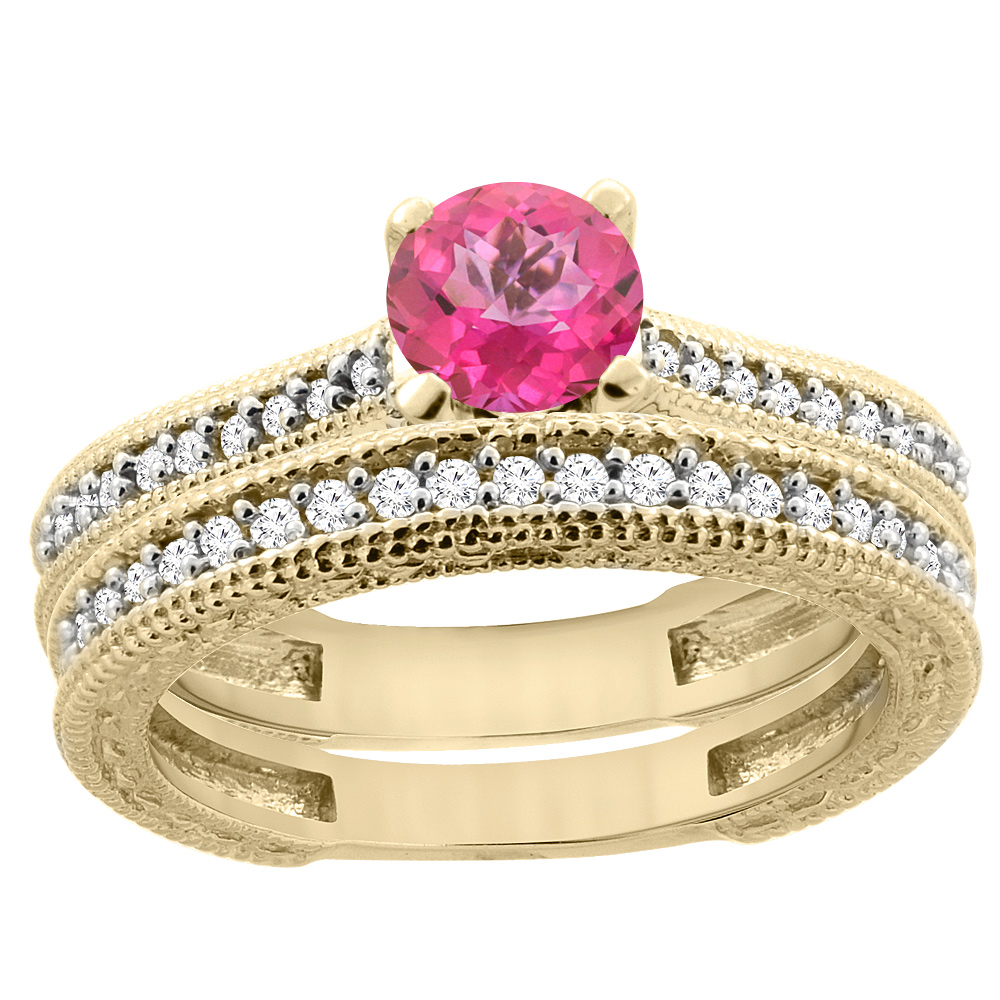 14K Yellow Gold Natural Pink Topaz Round 5mm Engraved Engagement Ring 2-piece Set Diamond Accents, size 5.5 by Gabriella Gold