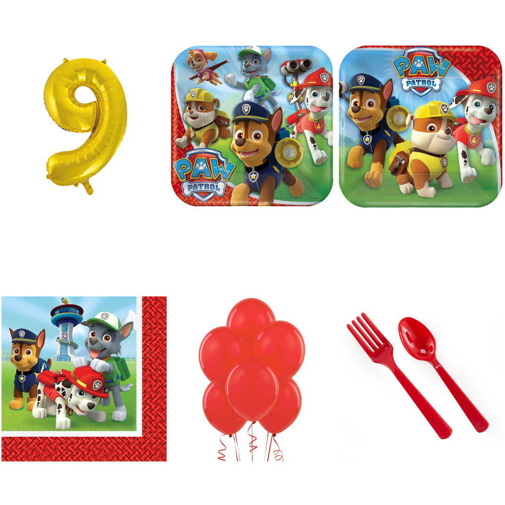PAW PATROL PARTY SUPPLIES PARTY PACK FOR 16 WITH GOLD #9 BALLOON