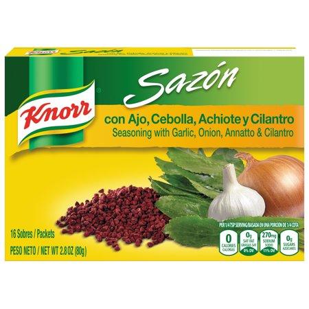 (2 Pack) Knorr Sazon Seasoning Garlic, Onion, Annatto & Cilantro 2.8 oz, 16 ct