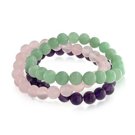 3 Stretch Bead Bracelets (Set of 3 Dyed Purple Amethyst Pink Rose Quartz Green Aventurine 8mm Ball Bead Stones Stretch Bracelet For Women Set )