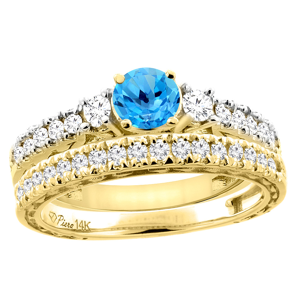14K Yellow Gold Diamond Natural Swiss Blue Topaz Engagement 2-pc Ring Set Engraved Round 6 mm, size 5 by Gabriella Gold