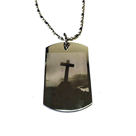 Dog Tags Chain (Christian Jesus Christ Cross Philippians 4:6-7 Pendant Double Sided Logo - Military Dog Tag, Luggage Tag Metal Chain)