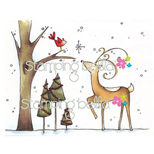 Stamping Bella Unmounted Rubber Stamp, Reindeer With Birdie