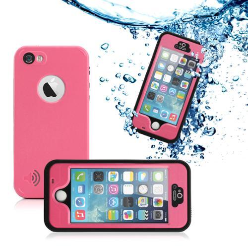 GEARONIC Durable Waterproof Shockproof Snow DirtProof Fingerprint Scanner Full Case Cover for Apple iPhone SE & 5 5S - Pink
