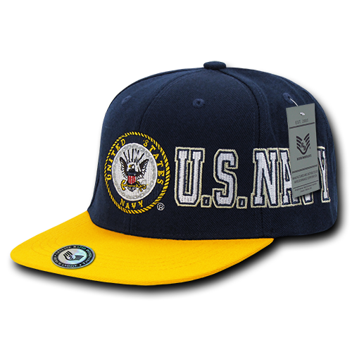"""US Navy, Official """"D-Day"""" Military Caps Hats Navy/Gold"""