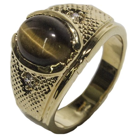 Men's 18 KT Gold Plated Dress Ring with Genuine Tiger Eye 028 Quartz Tigers Eye Ring