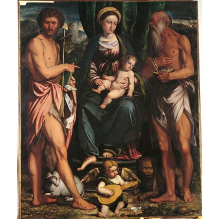 Madonna And Child With St John The Baptist And St Hieronymus Canvas...