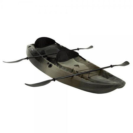 lifetime sport fisher tandem kayak with paddles and backrest, camouflage