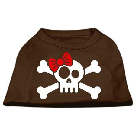 Skull Crossbone Bow Screen Print Shirt Brown XL (16)