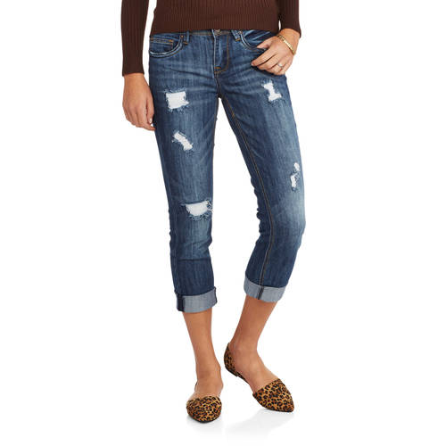 Juniors' Distressed Cropped Skinny Jeans