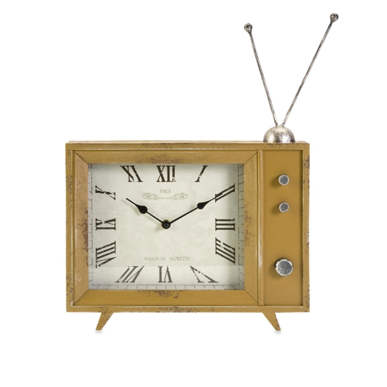 "17.5"" Decorative Retro TV Style Roman Numeral Shelf Clock"