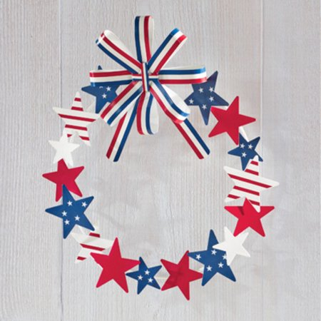 Metal Star Patriotic Wreath with Striped Bow - Halloween Wreath Bows