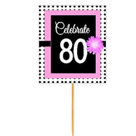 CakeSupplyShop Item#BPP-080 Happy 80th Birthday Pink w. Black Polka Dot Novelty Cupcake Decoration Topper Picks -12ct - Polka Dot Cake