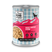 "(12 Pack) ""I and love and you."" Beef Booyah Stew Wet Dog Food, 13 oz"