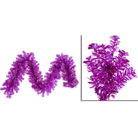 """9' x 14"""" Pre-Lit Fuchsia Wide Cut Laser Tinsel Christmas Garland - Pink Lights - image 1 of 1"""