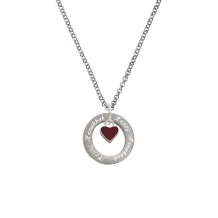 Silvertone Mini Two Sided Maroon Heart Happy Hanukkah Affirmation Ring Necklace](Maroon Necklace)