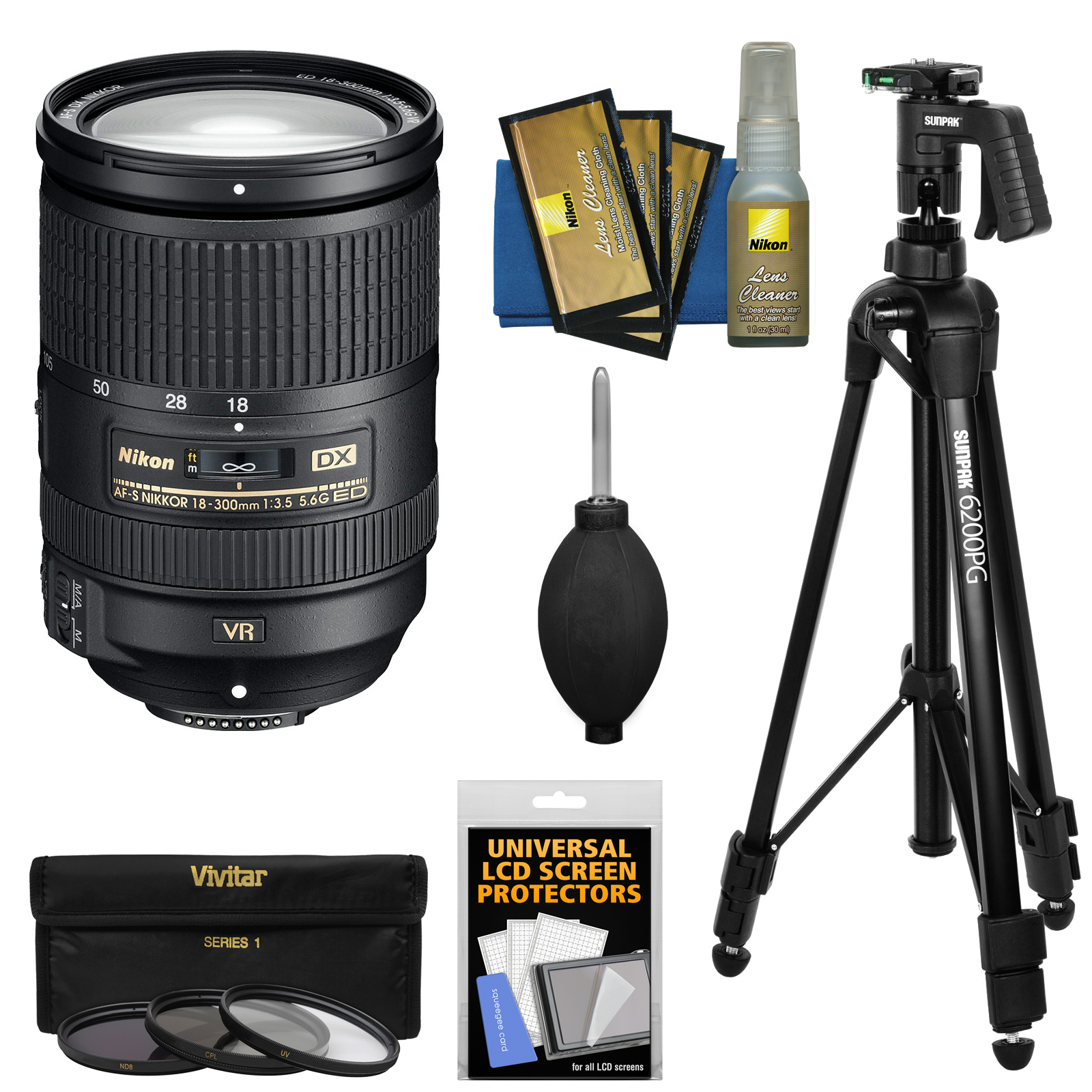 Nikon 18-300mm f/3.5-5.6G VR DX ED AF-S Nikkor-Zoom Lens + Pistol Grip Tripod + 3 Filters Kit for D3200, D3300, D5300, D5500, D7100, D7200 DSLR Camera