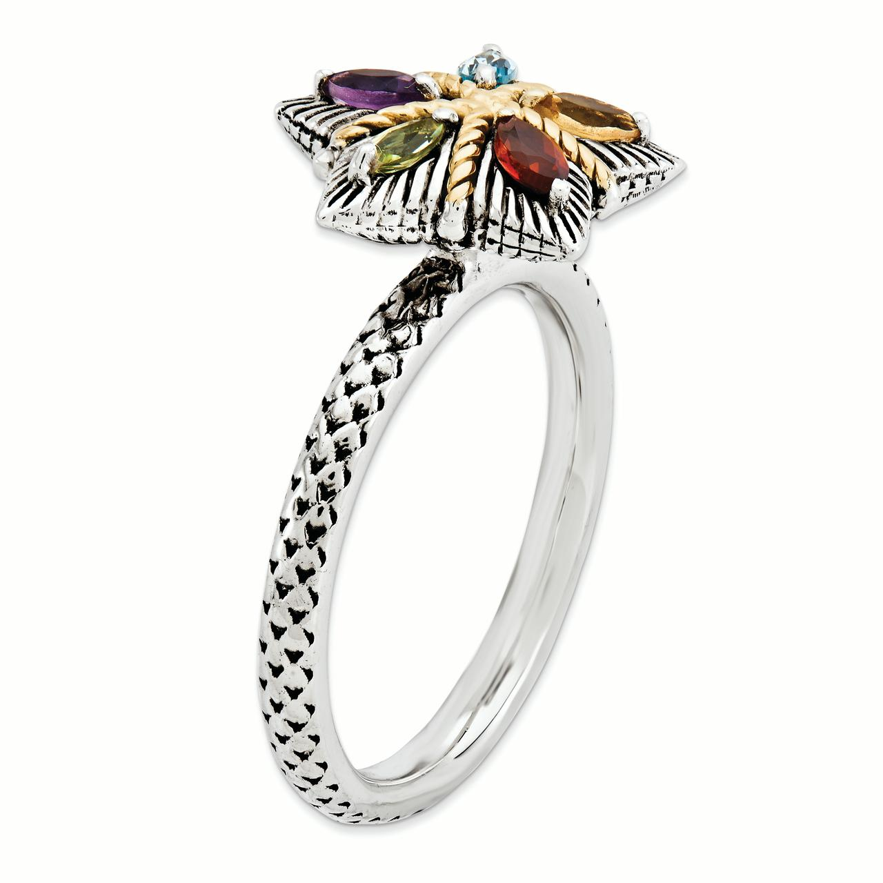 Sterling Silver & 14k Stackable Expressions Gemstone Antiqued Ring Size 6 - image 3 of 3