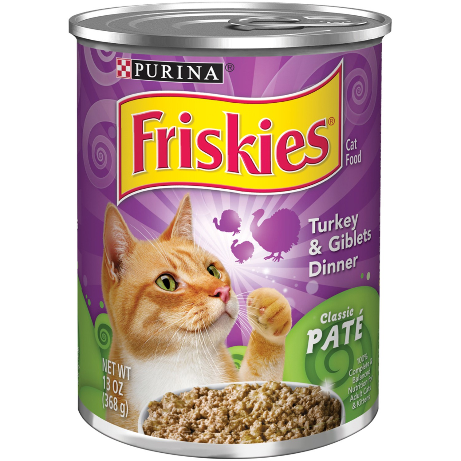 Friskies Classic Pate Turkey & Giblets Dinner Wet Cat Food, (12) 13 Oz. Cans