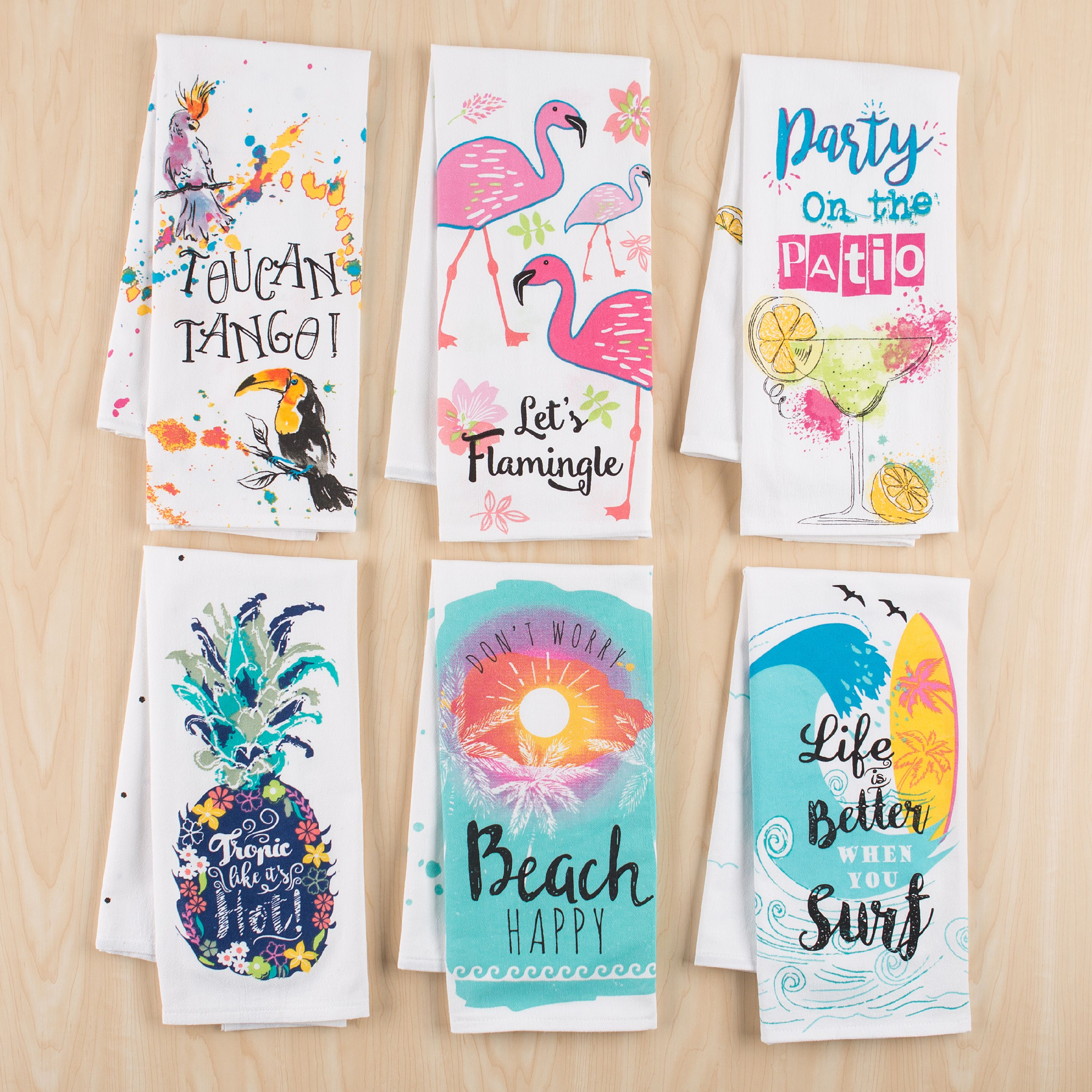 Mainstays Summer Flour Sack Kitchen Towel, Set of 6, Assorted Prints, 28 in x 29 in, 100%... by JVS Export