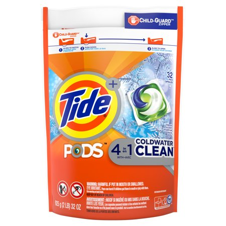 Tide PODS Coldwater Clean Liquid Laundry Detergent Pacs, Fresh Scent, 32