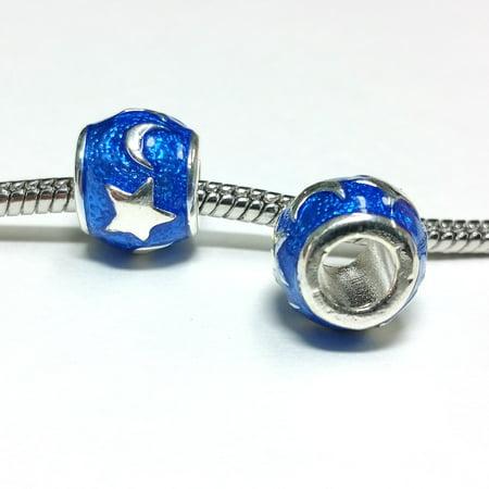 3 Beads - Blue Enamel Star Moon Celestial Silver European Bead Charm E1386 Blue Moon Silver Bars