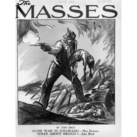 Labor Cartoon 1914 Na Striking Coal Miner Confronts National Guard Troops At Ludlow Colorado 1914 Contemporary Cartoon By John Sloan For The Cover Of The Masses Rolled Canvas Art     18 X 24
