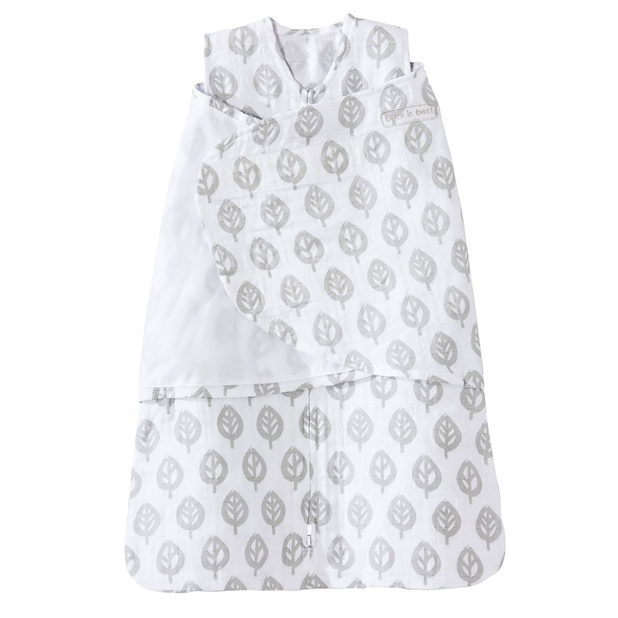 Halo 100% Cotton Muslin Baby Sleepsack Swaddle Wearable Blanket, Grey Tree Leaf, SM
